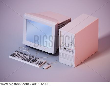 Vintage Pc Standing On Gray Background. 3d Illustration.