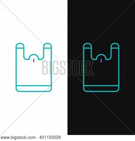 Line Plastic Bag Icon Isolated On White And Black Background. Disposable Cellophane And Polythene Pa
