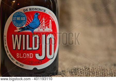 Wild Jo Belgian Speciality Beer From Brewery De Koninck. Close-up And Detail Of Bottle And Label.