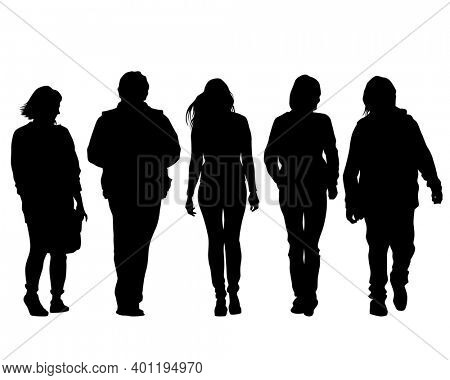 Man and women on on street. Isolated silhouette on a white background
