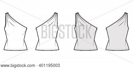 Top One-shoulder With Ruching Tank Technical Fashion Illustration With Fitted Slim Body, Tunic Lengt