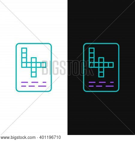 Line Crossword Icon Isolated On White And Black Background. Colorful Outline Concept. Vector