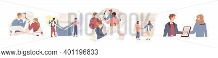 People Signing Paper And Digital Contract Vector Flat Illustration. Set Of Scenes With Entrepreneurs