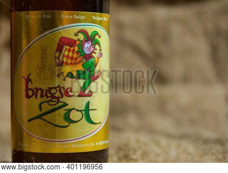 Antwerp, Belgium, December 2020: Illustrative Editorial: Brugse Zot Belgian Speciality Beer From Bre