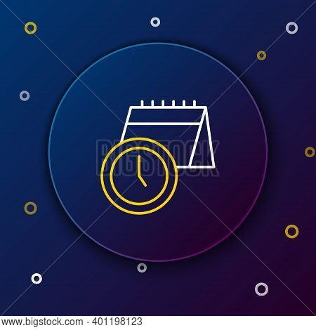 Line Calendar And Clock Icon Isolated On Blue Background. Schedule, Appointment, Organizer, Timeshee