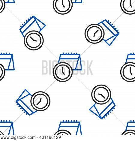 Line Calendar And Clock Icon Isolated Seamless Pattern On White Background. Schedule, Appointment, O