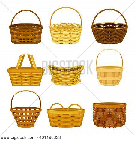 Wicker Basket As Container Woven From Stiff Fiber Vector Set