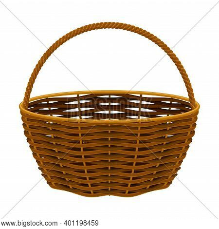 Wicker Basket As Container Woven From Stiff Fiber Vector Illustration