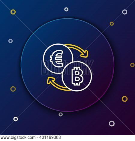 Line Cryptocurrency Exchange Icon Isolated On Blue Background. Bitcoin To Euro Exchange Icon. Crypto