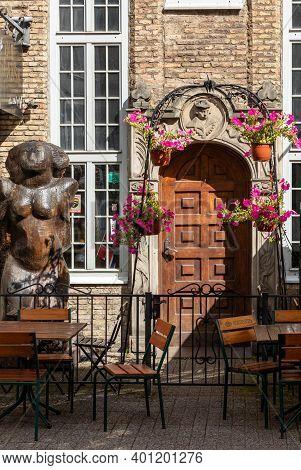 Gdansk, Poland - Sept 6, 2020: Entrance To The Old Gdansk Beer Pub & Cafe At Piwna Street