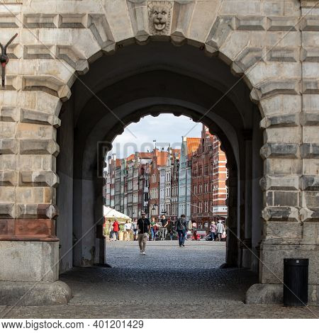 Gdansk, Poland - Sept 9, 2020: The Green Gate In Gdańsk, Poland,  It Is Situated Between Long Market