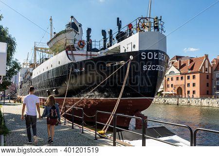 Gdansk, Poland - Sept 9, 2020: Soldek The First Ship Built In Poland After World War Ii To The Gdans