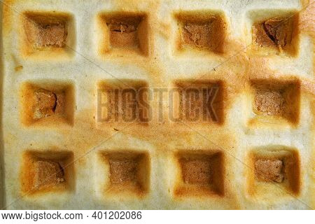 Waffle Texture Background. Waffle Close-up Top View