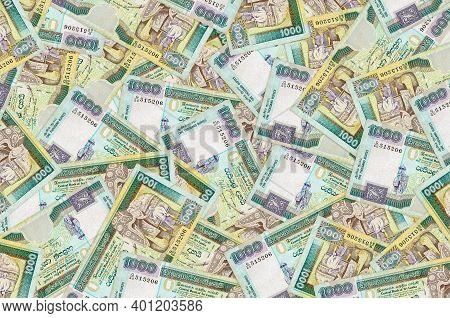 1000 Sri Lankan Rupees Bills Lies In Big Pile. Rich Life Conceptual Background. Big Amount Of Money