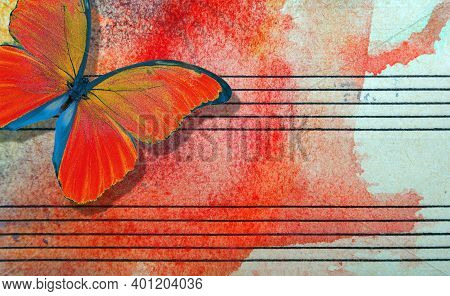 Red Butterfly And Notes. Butterfly Melody. Photo Of Old Music Sheet In Red Watercolor Paint. Abstrac
