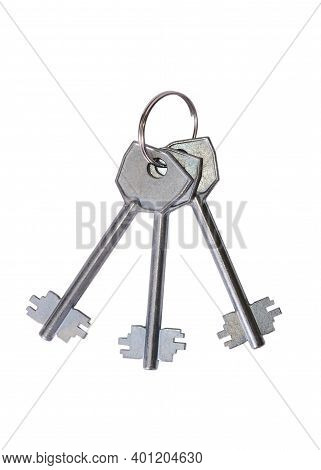 Chrome Plated Bunch Of Keys Isolated On White