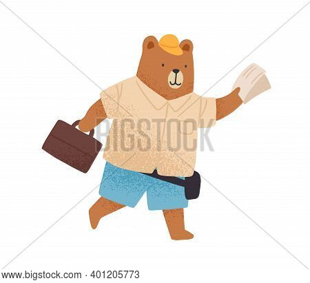 Cute Tourist Bear Hurrying With Map Or Ticket And Luggage Vector Flat Illustration. Funny Wild Anima