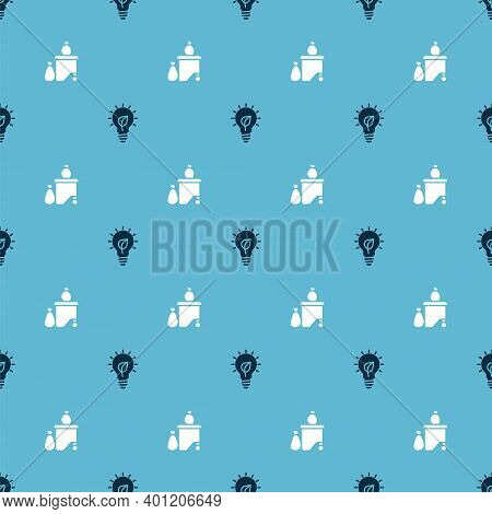 Set Light Bulb With Leaf And Full Dustbin On Seamless Pattern. Vector