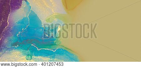Abstract blue, violet and gold glitter color horizontal background. Marble texture. Alcohol ink colors.