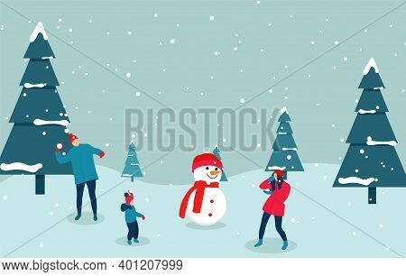 The Family Builds A Snowman And Play Snowballs. Winter Outdoor Recreation. Illustration In Flat Styl