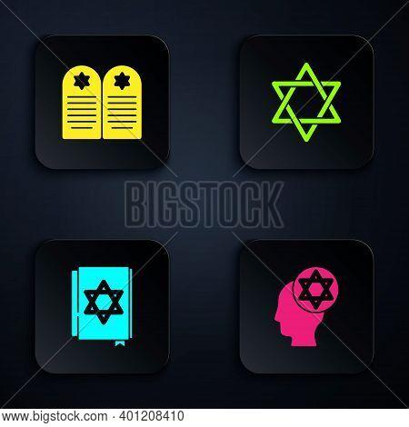Set Orthodox Jewish Hat, Tombstone With Star Of David, Jewish Torah Book And Star David. Black Squar