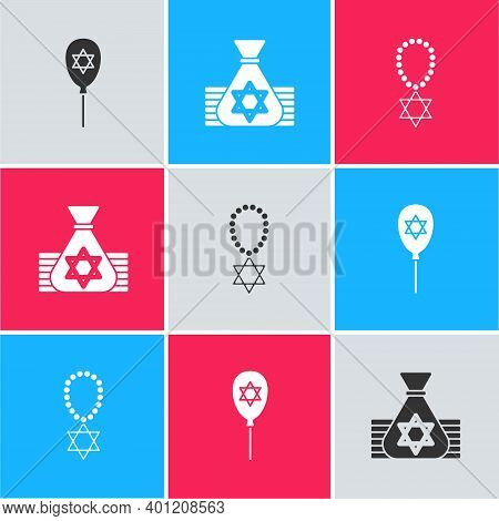 Set Balloon With Star Of David, Jewish Money Bag And Star David Necklace Chain Icon. Vector