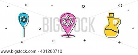 Set Balloon With Star Of David, Star David And Bottle Olive Oil Icon. Vector