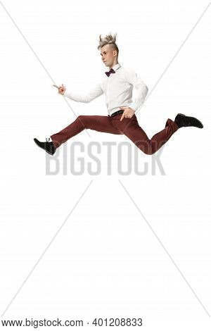 Rockstar. Happy Young Man Dancing In Casual Clothes Or Suit, Remaking Legendary Moves And Dances Of