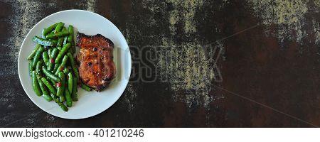 Green Peas With Meat Steak On A Plate. Keto Diet. Paleo Diet. Pegan Diet.