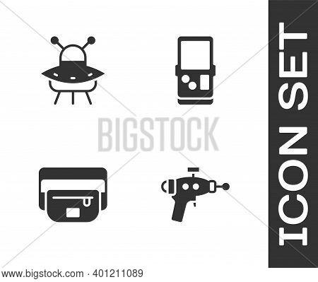Set Ray Gun, Ufo Flying Spaceship, Waist Bag Of Banana And Tetris Icon. Vector