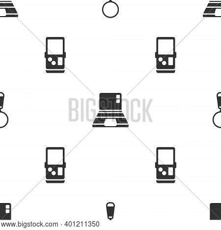 Set Magnifying Glass, Laptop And Tetris On Seamless Pattern. Vector