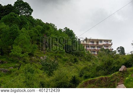 Large Concrete Buildings Of Hotels Homestays And Residences In Hill Stations In India Like Shimla, D