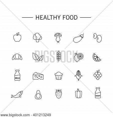 Set Of Vector Illustrations Of Healthy Food Icons. Suitable For Design Elements Of Healthy Food Cons