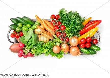 Vegetables in box isolated on a white background