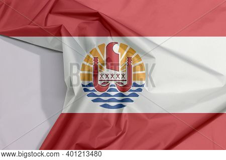 French Polynesia Fabric Flag Crepe And Crease With White Space, Two Red Horizontal And Wide White; C
