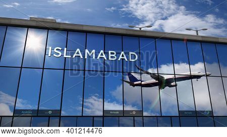 Airplane Landing At Islamabad Pakistan Airport Mirrored In Terminal