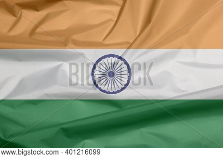 Fabric Flag Of India. Crease Of Indian Flag Background, Tricolor Of India Saffron, Orange White And