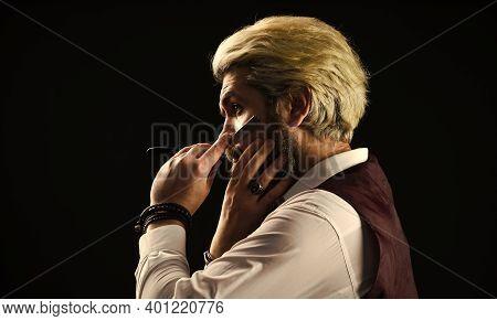 Mature Man With Dyed Hair. Vintage Barbershop. Barber Tools. Barbershop. Barbershop Services. Keep Y
