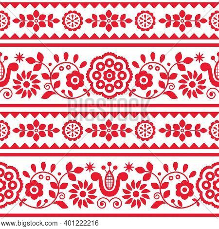 Polish Traditional Vector Seamless Embroidery Pattern With Flowers And Hearts Inspired By Folk Art E