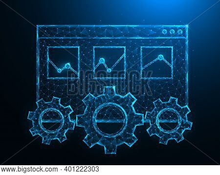 Seo Or Search Engine Optimization Low Poly Art. Web Page Tab, Gears And Analytics Polygonal Vector I