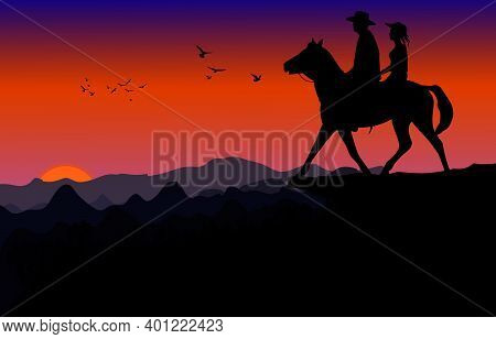Graphics Image The Man And Women Ride Horse On Mountain Silhouette Twilight Is A Sunset Background,