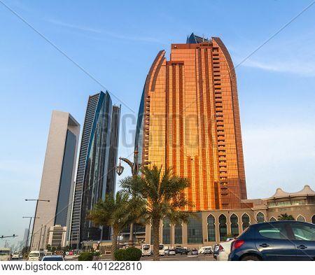 Abu Dhabi, Uae - March 31. 2019. The Etihad Towers And Bab Al Qasr Hotel On The Sunset