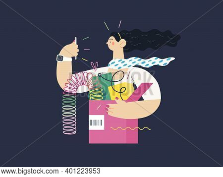 Discounts, Sale, Promotion - Online Shopping- Modern Flat Vector Concept Illustration Of A Young Wom