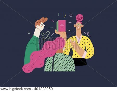 Discounts, Sale, Promotion - Shop Consultant - Modern Flat Vector Concept Illustration Of Customers