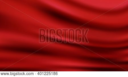 Red Wavy Luxury Fabric Background Smooth Shapes Abstract Background With Smooth Wavy Structure Moder