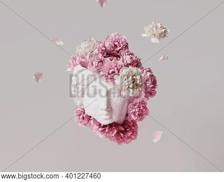 3d Ancient Woman Statue, White Broken Stone. Greek,roman  Goodness Style. Head Sculpture Pink Flower