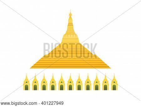 Golden Shwedagon Pagoda Or Great Dagon Pagoda From Yangon Myanmar