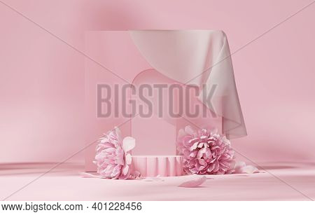 3d Display Podium Pastel Pink Flower  Background. Peony Blossom, For Woman Gift. Nature Minimal Pede