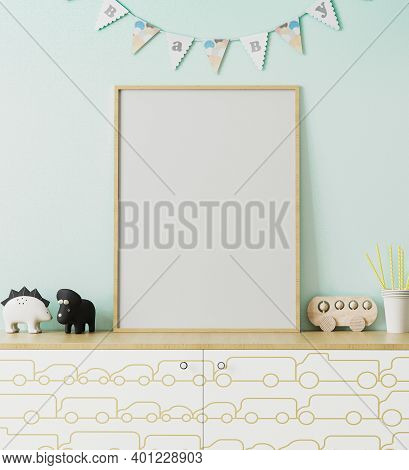 Blank Wooden Poster Frame Mockup In Children's Room Interior With Light Blue Wall And Garland Flags