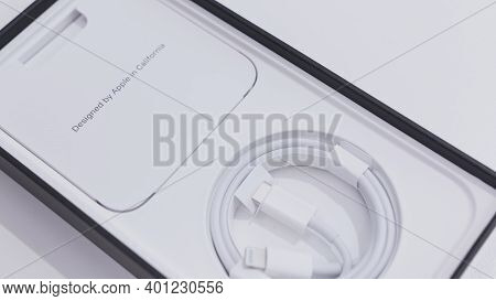 Moscow, Russia-november, 2020: New Iphone Box. Action. Stylish Box From New Iphone. Internal Box Set